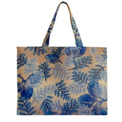 Fabric Embroidery Blue Texture Zipper Mini Tote Bag by paulaoliveiradesign