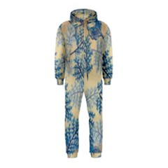 Fabric Embroidery Blue Texture Hooded Jumpsuit (kids) by paulaoliveiradesign