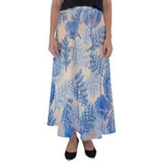Fabric Embroidery Blue Texture Flared Maxi Skirt by paulaoliveiradesign