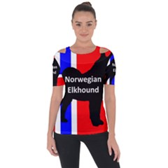 Norwegian Elkhound Name Silo On Norway Flag Short Sleeve Top by TailWags