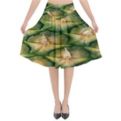 Pineapple Pattern Flared Midi Skirt