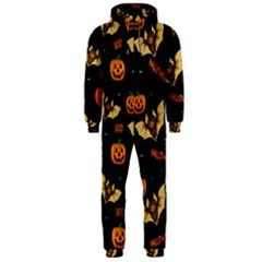 Bat, Pumpkin And Spider Pattern Hooded Jumpsuit (men)  by Valentinaart