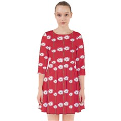 Sunflower Red Star Beauty Flower Floral Smock Dress by Mariart