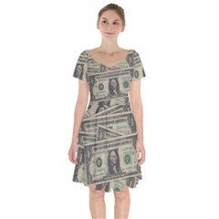Dollar Currency Money Us Dollar Short Sleeve Bardot Dress by Nexatart
