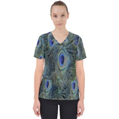 Peacock Feathers Blue Bird Nature Scrub Top by Nexatart