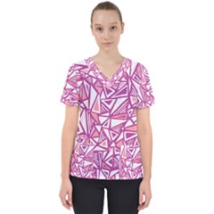 Conversational Triangles Pink White Scrub Top by Mariart