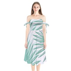 Graciela Detail Petticoat Palm Pink Green Gray Shoulder Tie Bardot Midi Dress by Mariart