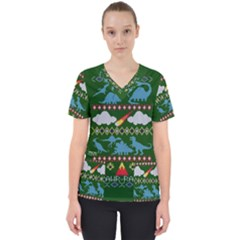 My Grandma Likes Dinosaurs Ugly Holiday Christmas Green Background Scrub Top by Onesevenart