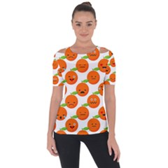 Seamless Background Orange Emotions Illustration Face Smile  Mask Fruits Short Sleeve Top by Mariart