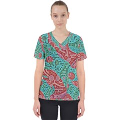 Recursive Coupled Turing Pattern Red Blue Scrub Top by Mariart