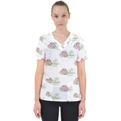 Pinecone Pattern Scrub Top by Mariart
