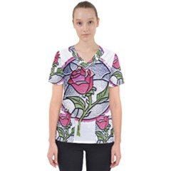 Beauty And The Beast Rose Scrub Top by Zhezhe