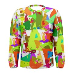 Colorful Shapes On A White Background                             Men Long Sleeve T Shirt