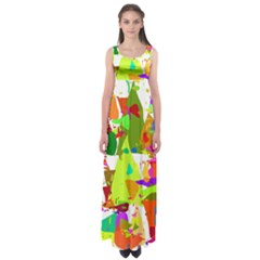 Colorful Shapes On A White Background                        Empire Waist Maxi Dress