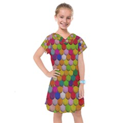 Colorful Tiles Pattern                            Kids  Drop Waist Dress