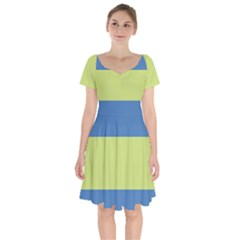 Cvst0095 Beige Blue Green Stripes Short Sleeve Bardot Dress by CircusValleyMallDresses