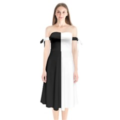 Black And White Shoulder Tie Bardot Midi Dress by Valentinaart