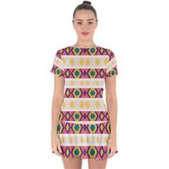Rhombus And Stripes                               Drop Hem Mini Chiffon Dress