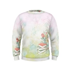 Romantic Watercolor Books And Flowers Kids  Sweatshirt