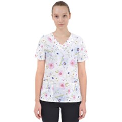 Floral Cute Girly Pattern Scrub Top by paulaoliveiradesign