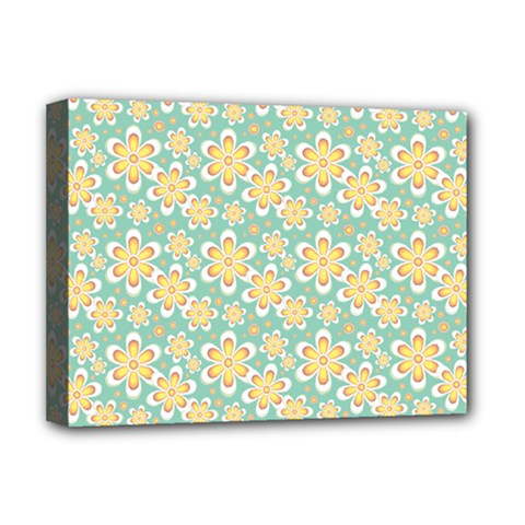 Seamless Pattern Blue Floral Deluxe Canvas 16  X 12