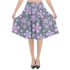 Seamless Pattern Purple Girly Floral Pattern Flared Midi Skirt