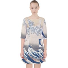 The Classic Japanese Great Wave Off Kanagawa By Hokusai Pocket Dress by PodArtist