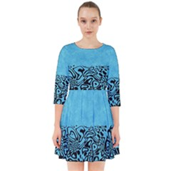 Modern Paperprint Turquoise Smock Dress by MoreColorsinLife