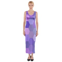 Purple Hexagon Background Cell Fitted Maxi Dress