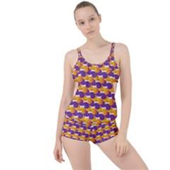 Pattern Background Purple Yellow Boyleg Tankini Set
