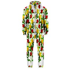 Rose Pattern Roses Background Image Hooded Jumpsuit (men)