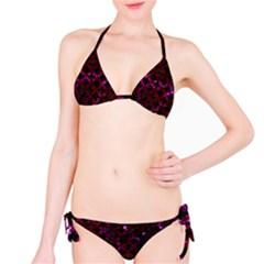 Circles3 Black Marble & Burgundy Marble Bikini Set