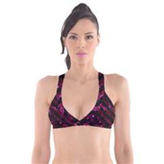 Stripes3 Black Marble & Burgundy Marble (r) Plunge Bikini Top
