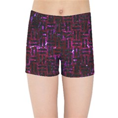 Woven1 Black Marble & Burgundy Marble (r) Kids Sports Shorts by trendistuff