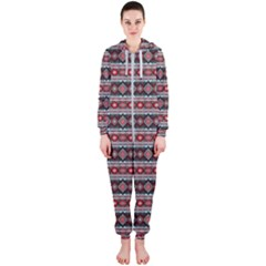 Fancy Tribal Border Pattern 17f Hooded Jumpsuit (ladies)