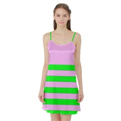 Pink And Green Stripesi Satin Night Slip by NSTP