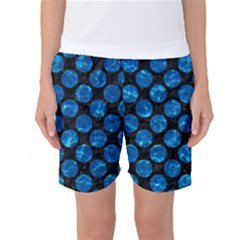 Circles2 Black Marble & Deep Blue Water Women s Basketball Shorts by trendistuff