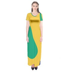 Yellow Green Blue Short Sleeve Maxi Dress by Mariart