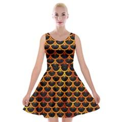 Scales3 Black Marble & Fire Velvet Skater Dress