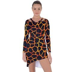 Skin1 Black Marble & Fire (r) Asymmetric Cut Out Shift Dress
