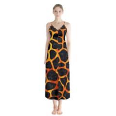 Skin1 Black Marble & Fire (r) Button Up Chiffon Maxi Dress