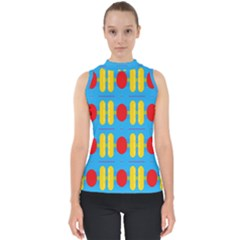 Ovals And Stripes Pattern                            Mock Neck Shell Top