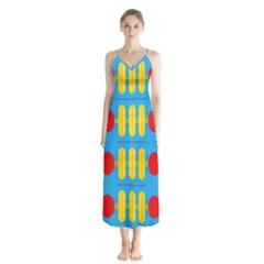 Ovals And Stripes Pattern                            Chiffon Maxi Dress