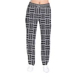 Woven1 Black Marble & Gray Colored Pencil (r) Drawstring Pants by trendistuff