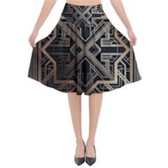 Art Nouveau Flared Midi Skirt