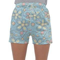 Flower Blue Butterfly Bird Yellow Floral Sexy Sleepwear Shorts by Mariart