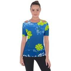 Flower Shamrock Green Blue Sexy Short Sleeve Top by Mariart