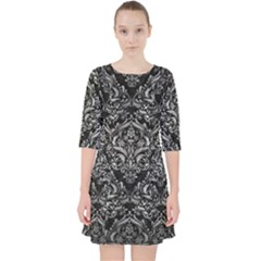 Damask1 Black Marble & Gray Metal 2 Pocket Dress by trendistuff
