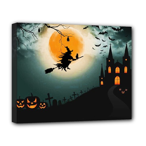 Halloween Landscape Deluxe Canvas 20  X 16   by Valentinaart