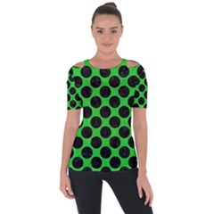 Circles2 Black Marble & Green Colored Pencil (r) Short Sleeve Top by trendistuff
